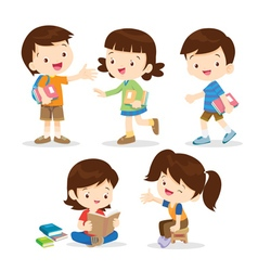 primary student boy and girl vector image