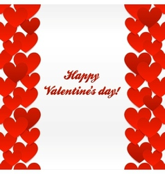 Red hearts valentines day greeting card vector image