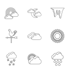 Kinds of weather icons set outline style vector