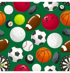 Sport balls and equipment seamless pattern vector