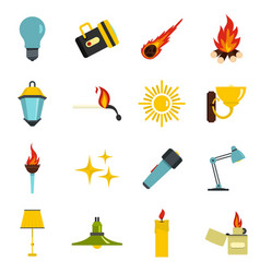 Light source symbols icons set in flat style vector