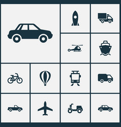 Shipment icons set collection of spaceship truck vector