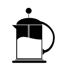 French press coffee maker pictogram vector