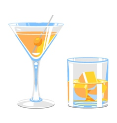 Glass of martini and whiskey vector