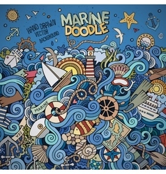 Doodles marine nautical border vector