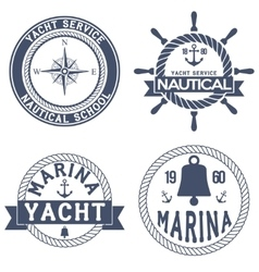 Set of nautical yacht badges vector