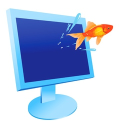 Gold fish jumps vector