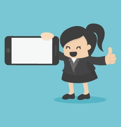 Business woman showing smartphone vector