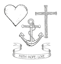 Symbols for faith hope and love vector