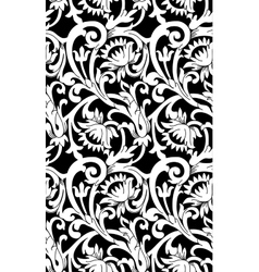 Black and white seamless floral background vector image