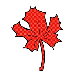 Comic cartoon red maple leaf vector