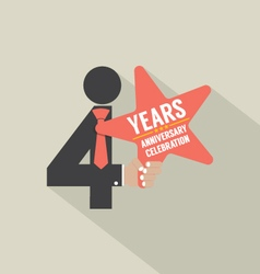 4th years anniversary typography design vector