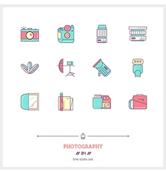 Photography line icons set vector