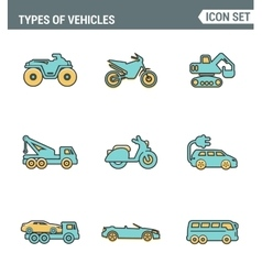 Icons line set premium quality of types vehicles vector
