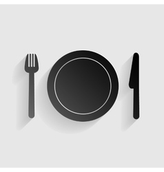 Fork plate and knife black paper with shadow on vector
