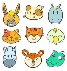 Animal head colorful doodle hand draw vector
