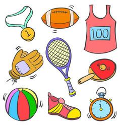 Art of sport equipment doodles vector