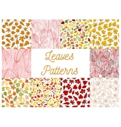 Autumn leaves with acorns seamless patterns vector image