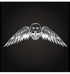 Biker theme silver label with skull and wings vector