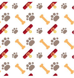 bones and dog paw seamless pattern abstract vector image