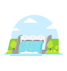 Cartoon hydroelectric station on a landscape vector
