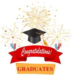 Congratulations with graduate cap vector