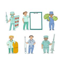 Flat doctor nurse surgeon characters set vector