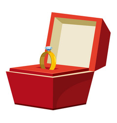 Gold ring in a red box icon cartoon style vector