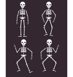 Halloween poster skeletons dancing banner or vector