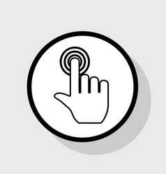 Hand click on button flat black icon in vector