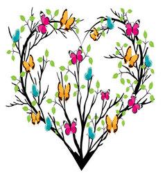 Heart tree with butterflies vector