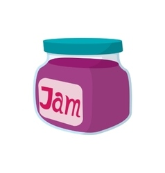 Jar of fruity jam icon cartoon style vector