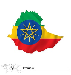 Map of Ethiopia with flag vector image vector image