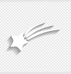 Meteor shower sign white icon with soft vector