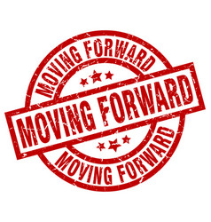 Moving forward round red grunge stamp vector