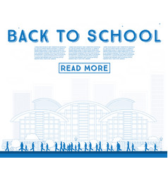 Outline back to school banner with school bus vector