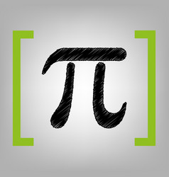 Pi greek letter sign black scribble icon vector