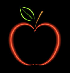 red apple neon lights vector image vector image