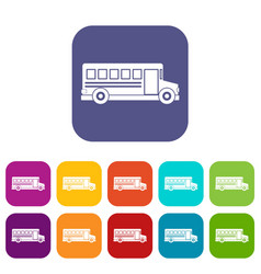 school bus icons set flat vector image