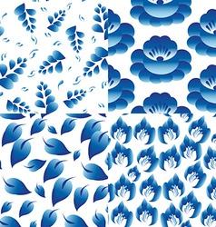 Set of 4 seamless patterns Vintage folk flowers vector image vector image