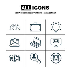Set of 9 business management icons includes great vector