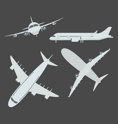 set of aircraft airplane vector image vector image