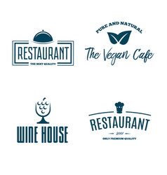 Set of restaurant shop design element in vintage vector