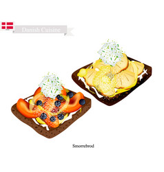 smorrebrod with fresh fruit the national dish of vector image vector image