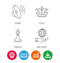 Strategy sound and scales of justice icons vector