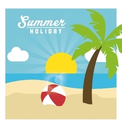 Summer design palm tree and ball icon graphic vector image