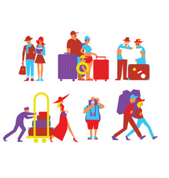 traveling people set in flat design vector image