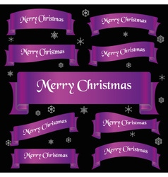 Violet shiny color merry christmas slogan curved vector