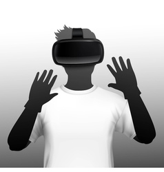 Vr headset user silhouette front image vector