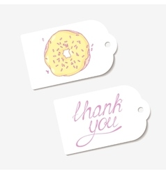 White paper tags THANK YOU hand drawn lettering vector image